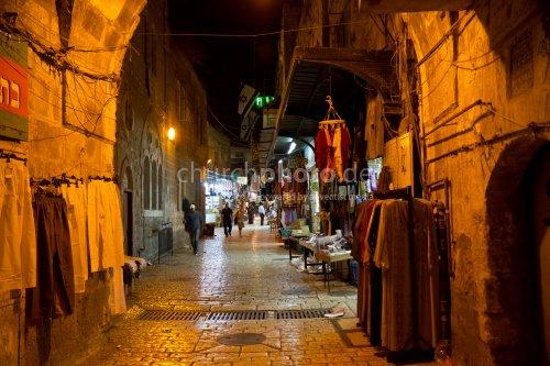 Old city of Jerusalem at night