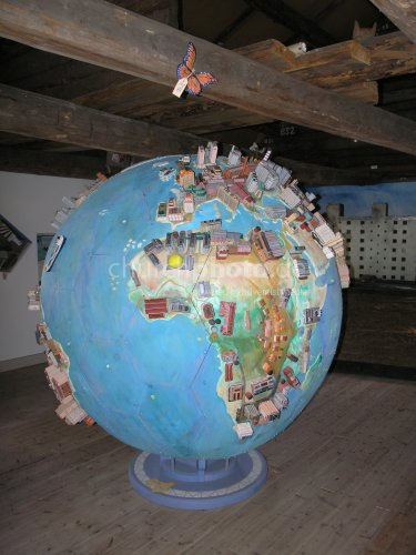Wooden globe of cities