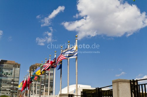 Flags at UN building in New York