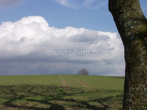 field green clowds sky