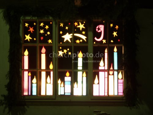 Window, Christmas time with candels
