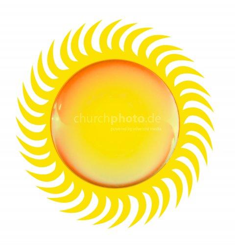 Bright glossy sun symbol