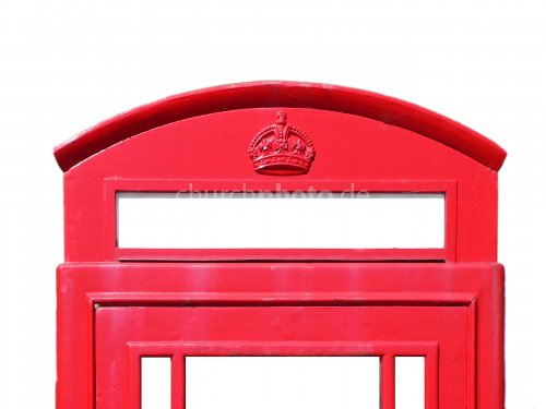 Phone box, red and white, detail.