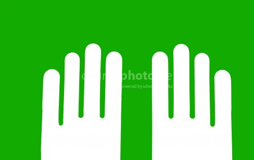 Two hands parallel, on green background, eco sign.