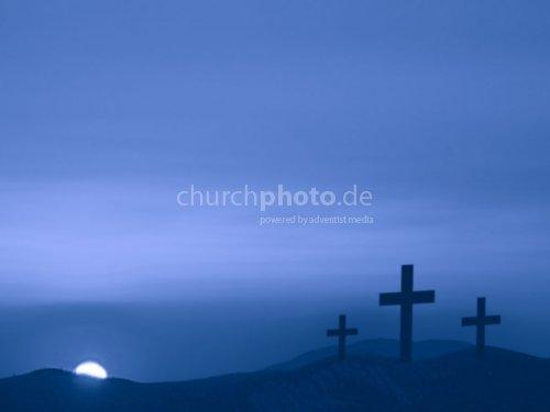 Three crosses and blue night