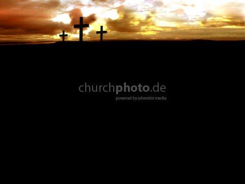 Three crosses at dark horizon