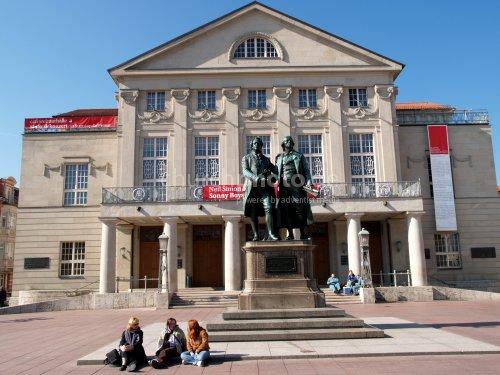 Goethe and Schiller in front of the Weimar Theatre