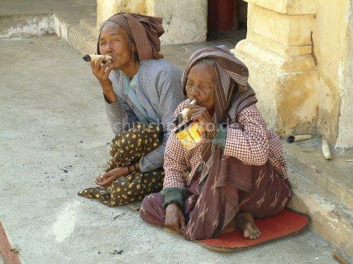 Old women smoking
